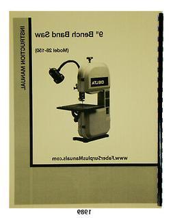 "Delta 9"" Bench Band Saw 28-150 Instruction & Parts List Manu"
