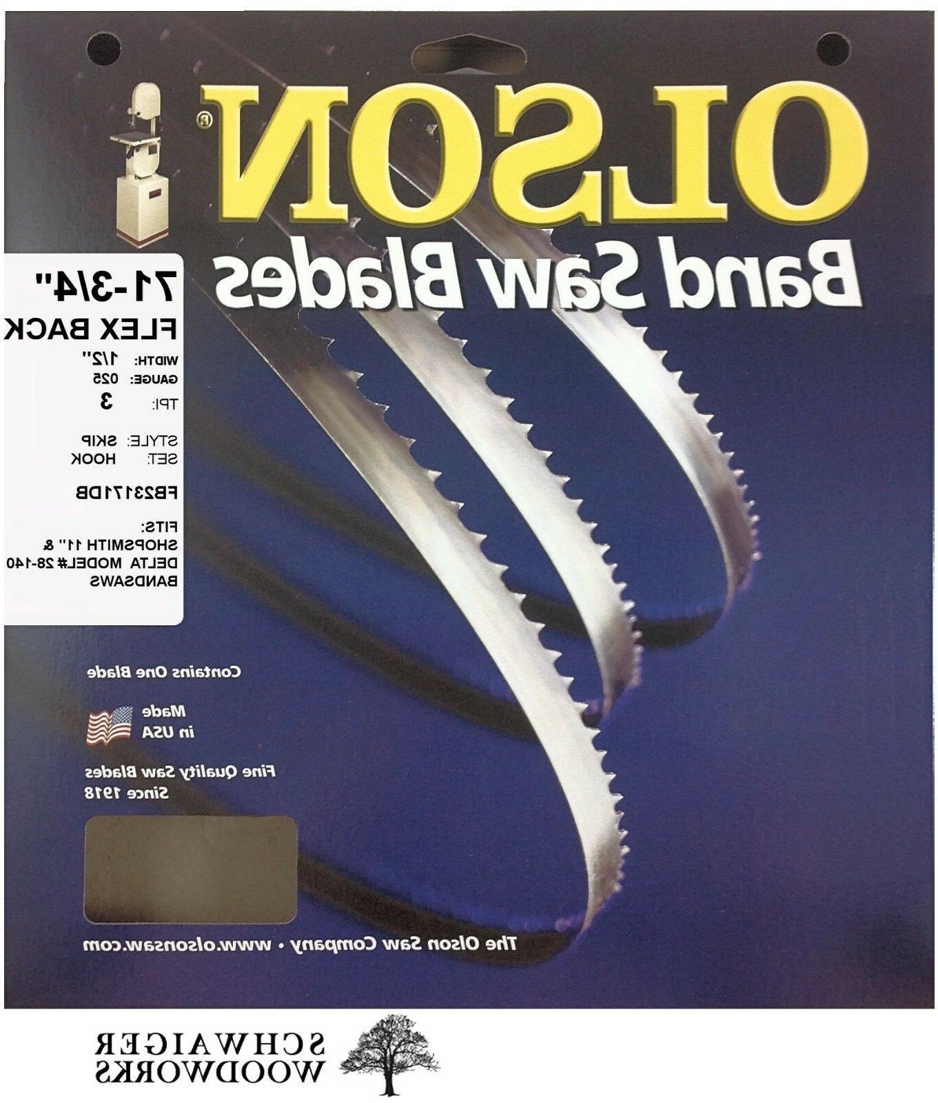 """Olson Band Saw Blade 71-3/4"""" - 72"""" inch x 1/2"""", 3T, Delta 28"""