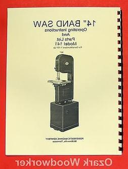 "POWERMATIC 141 14"" Band Saw Operating Parts Manual 0515"