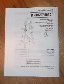 SEARS CRAFTSMAN 12 INCH BAND SAW OWNERS MANUAL