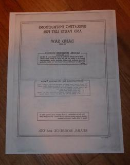 SEARS CRAFTSMAN 12 INCH BAND SAW OWNERS MANUAL 103.0103 0103