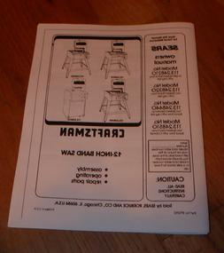 SEARS CRAFTSMAN 12 INCH BAND SAW OWNERS MANUAL 113.248210 24