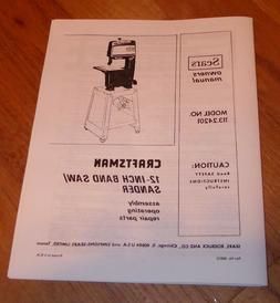 SEARS CRAFTSMAN 12 INCH BAND SAW SANDER OWNERS MANUAL 113.24